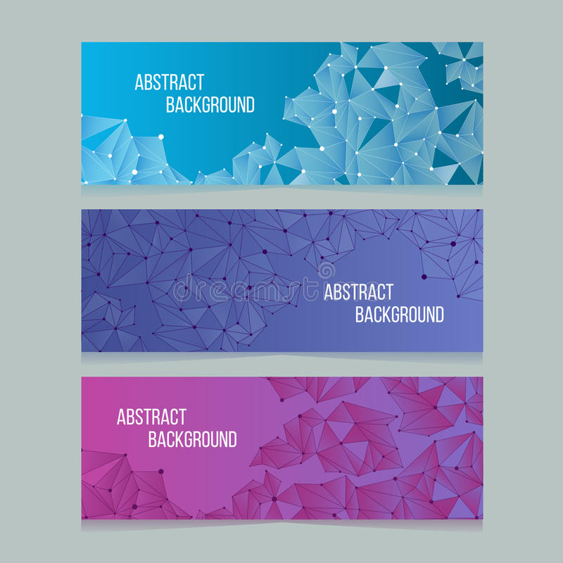 Abstract network digital cells banners. Vector banner backgrounds with connectivity patterns royalty free illustration