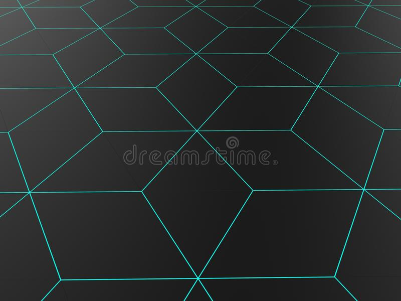 Abstract network pattern - light blue line shapes vector illustration