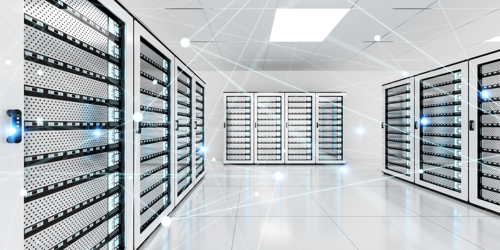 Abstract network on server room data center 3D rendering royalty free illustration