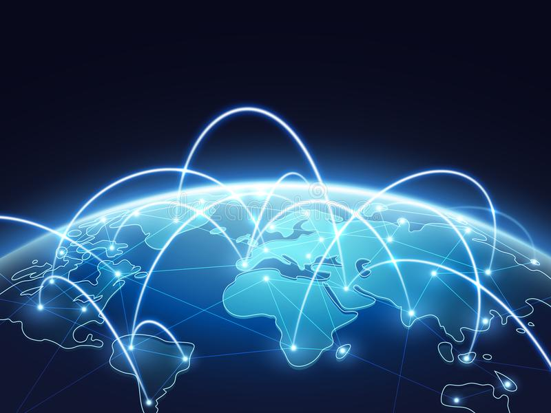Abstract network vector concept with world globe. Internet and global connection background. Abstract blue world earth digital connection illustration royalty free illustration