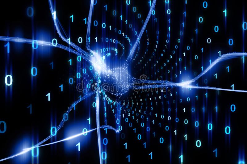 Abstract neuron with computer binary number data. Abstract neuron in the brain with computer binary number data cyberspace illustration background stock images