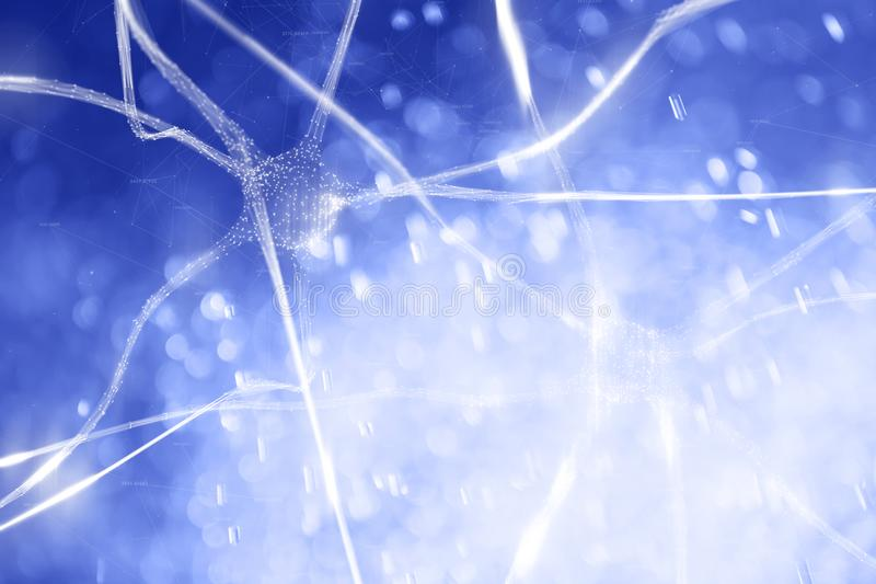 Abstract neurons with digital cyberspace network. Blue colored abstract neurons in the brain with digital cyberspace network background stock images