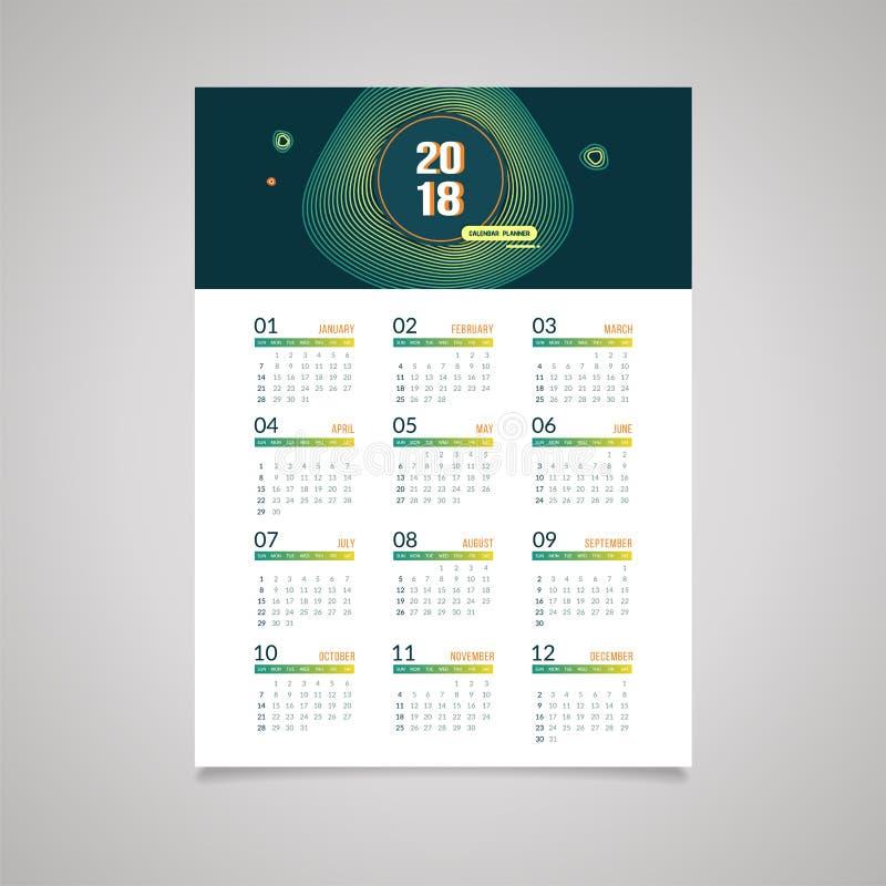 Abstract 2018 New Year Wall Calendar Design Stock Vector