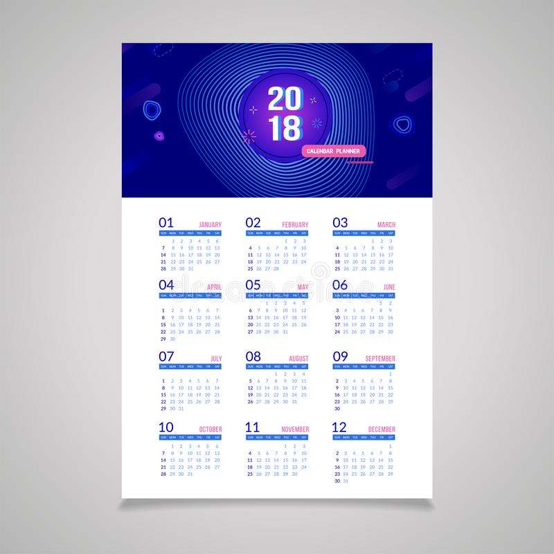 Abstract 2018 New Year Wall Calendar Template Stock Vector