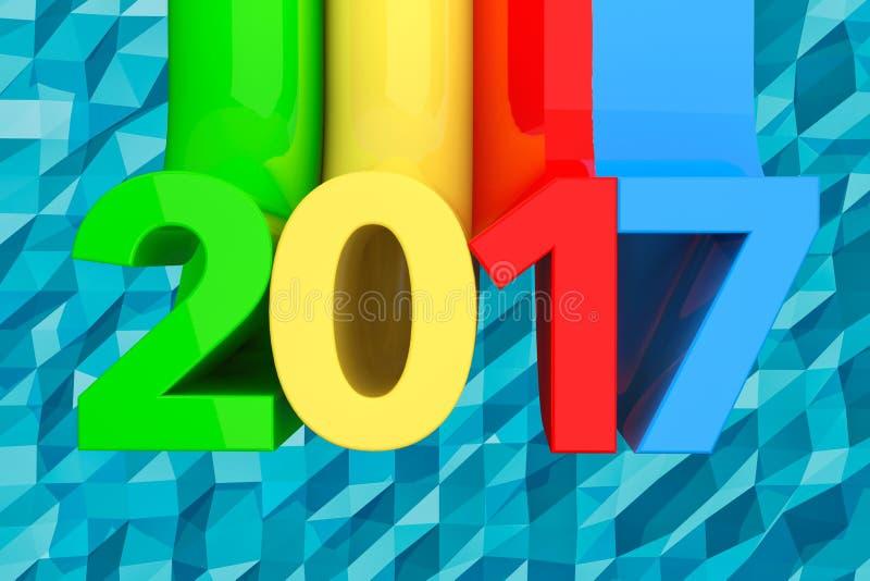 Abstract Nieuw het Jaarteken van 2017 het 3d teruggeven stock illustratie