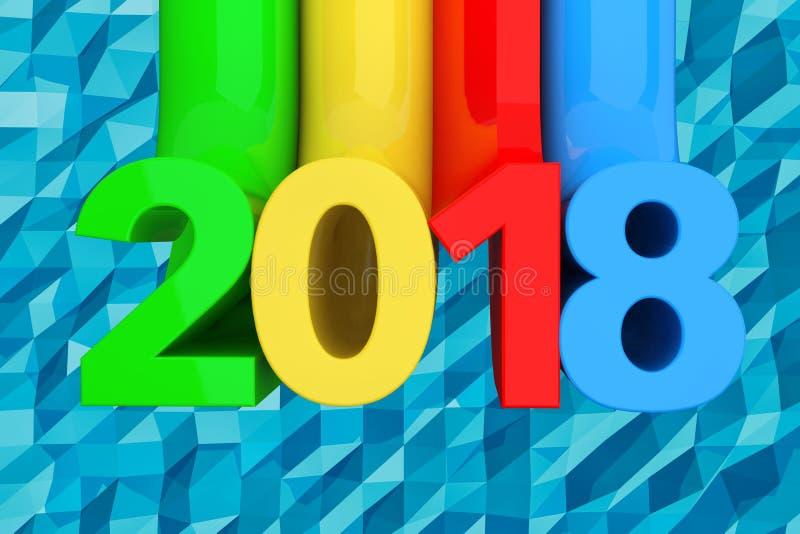 Abstract Nieuw het Jaarteken van 2018 het 3d teruggeven royalty-vrije illustratie