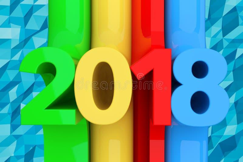 Abstract Nieuw het Jaarteken van 2018 het 3d teruggeven stock illustratie