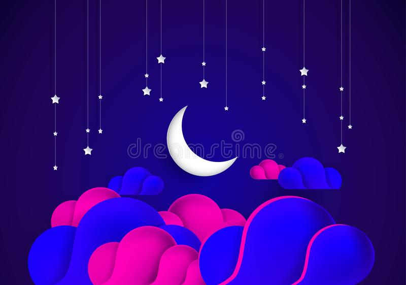 Abstract night background moon, sky, stars, colorful clouds vector illustration. Abstract night background moon, sky, stars, colorful clouds - dark blue and pink stock illustration