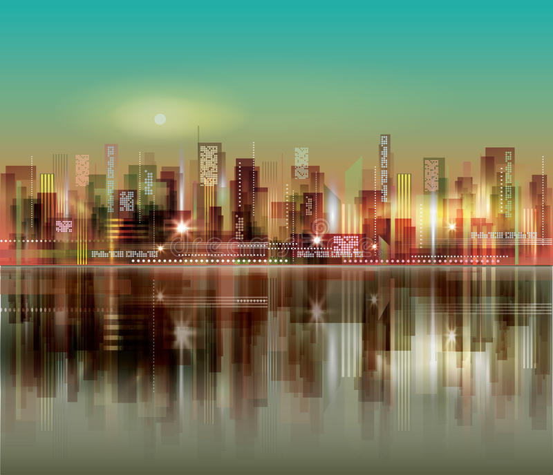 Abstract night background with silhouette of city. Abstract night cityskyline background with silhouette of city royalty free illustration