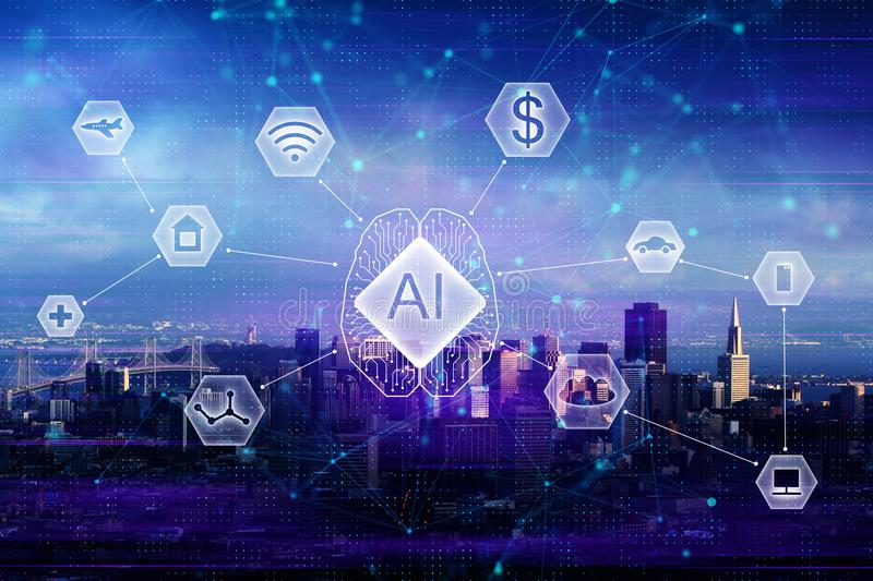 AI and network concept. Abstract night city background with polygonal digital business interface. AI and network concept. Double exposure royalty free stock photos