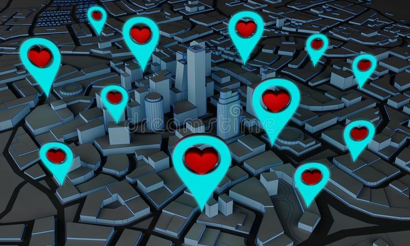 Abstract city with pin symbols heart. Abstract night city with pin symbols heart. 3d rendering stock illustration