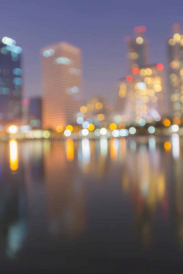 Abstract, night cityscape light blur bokeh, defocused background. royalty free stock photos