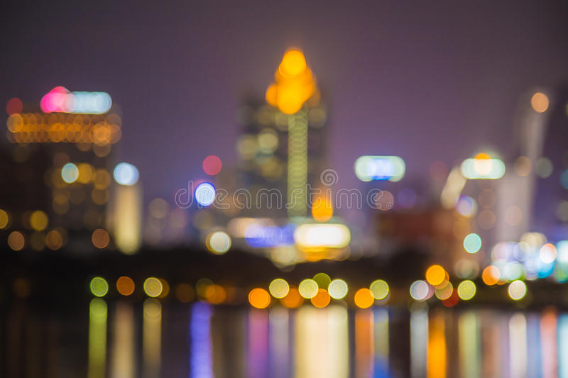 Abstract, night cityscape light blur bokeh, defocused background. stock photography