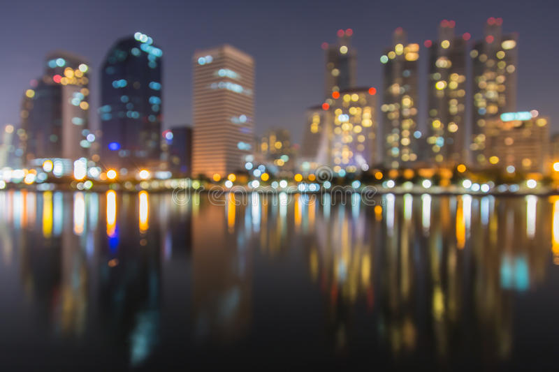 Abstract, night cityscape light blur bokeh, defocused background. royalty free stock photography
