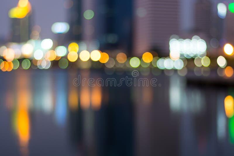 Abstract, night cityscape light blur bokeh, defocused background stock photos