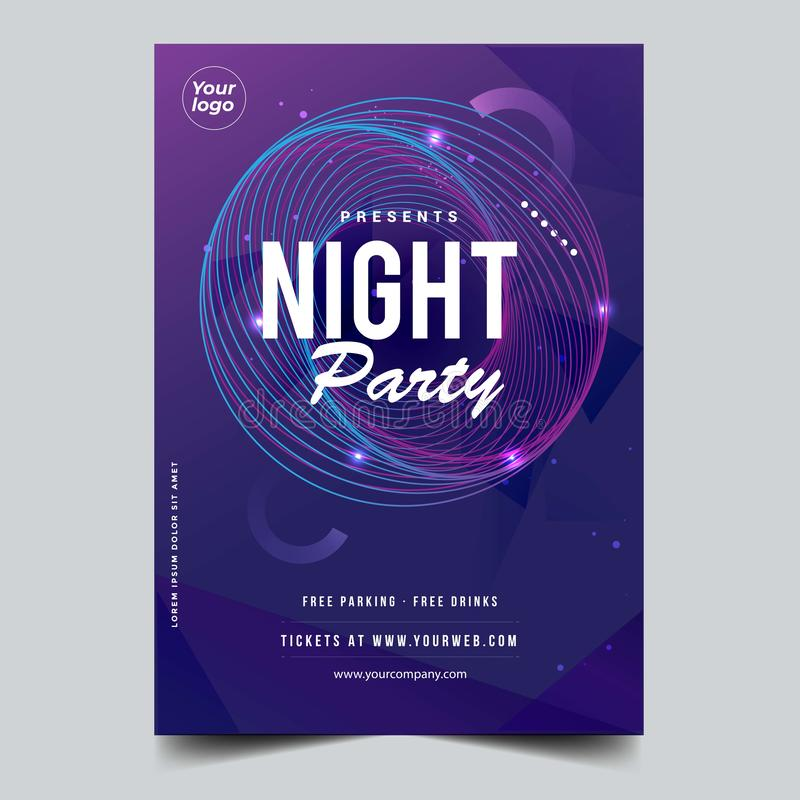 Abstract Night dance party music night poster glowing template. Party event flyer invitation. Night dance disco party music night poster template stock illustration