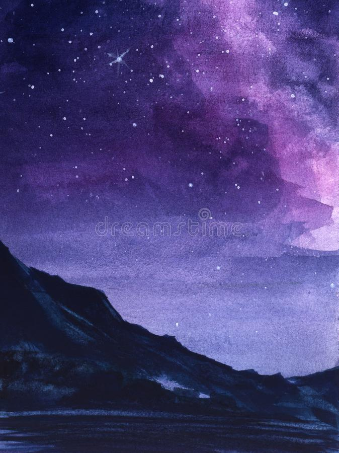 Abstract night landscape. Dark outlines of mountain range against background of magnificent night sky with multi-colored vector illustration