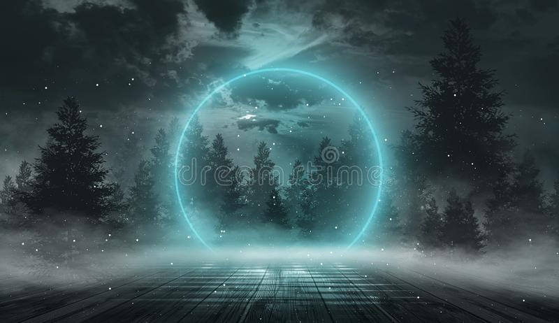 Abstract night landscape. Neon blue light, tree silhouettes, reflection in the water, moonlight light. Misty forest, dark, smoke, royalty free stock images