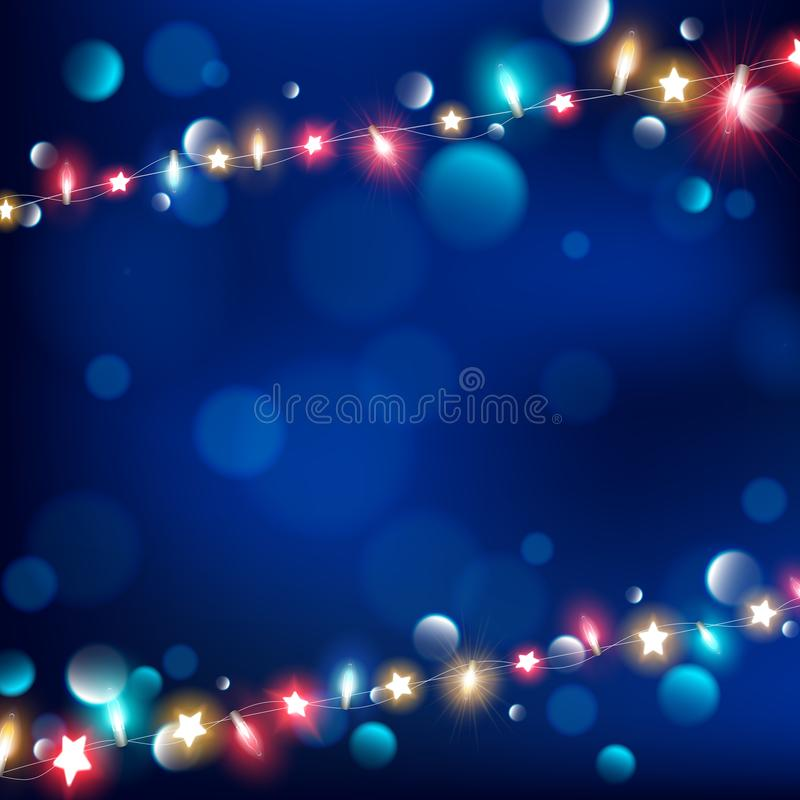 Abstract of night string lights on dark blue royalty free illustration
