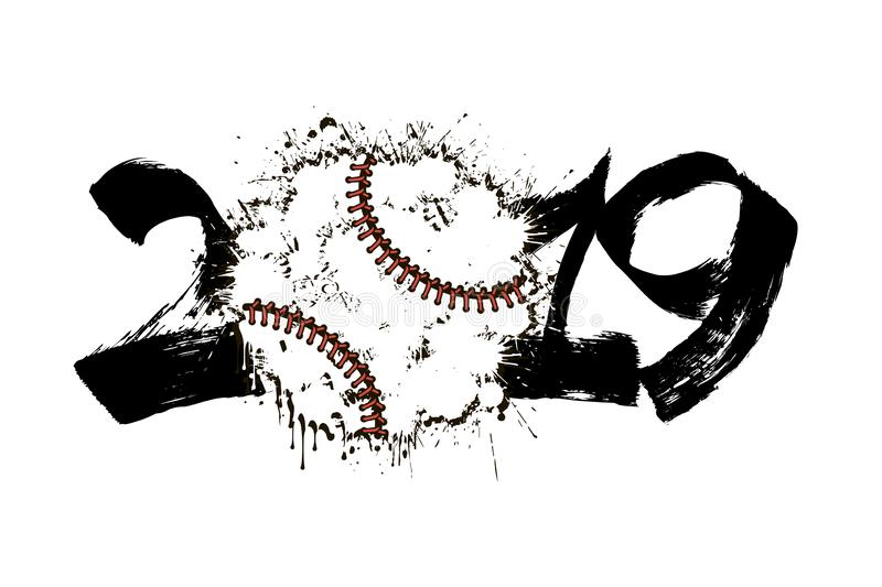 Abstract number 2019 and baseball ball from blots vector illustration