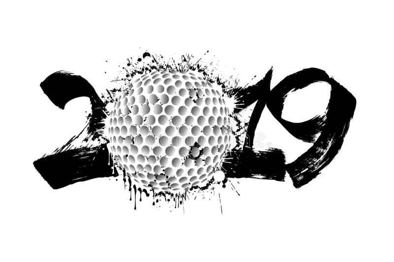 Abstract number 2019 and a golf ball from blots royalty free illustration