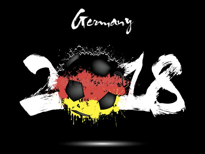 Abstract number 2018 and soccer ball blot royalty free illustration