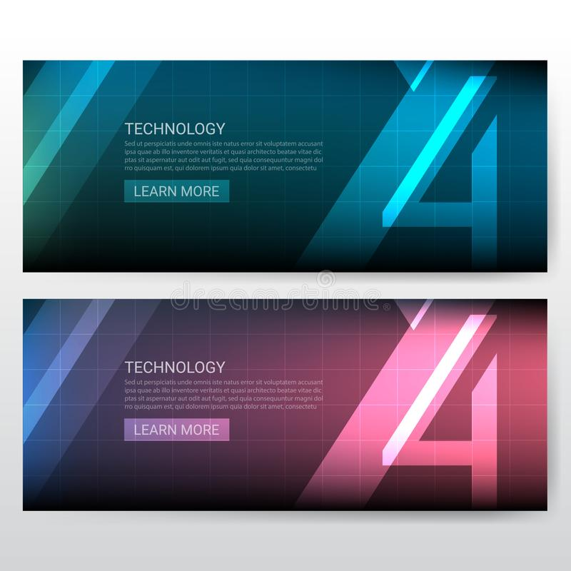 Abstract number 4 Technology banner template for website cover. Set stock illustration