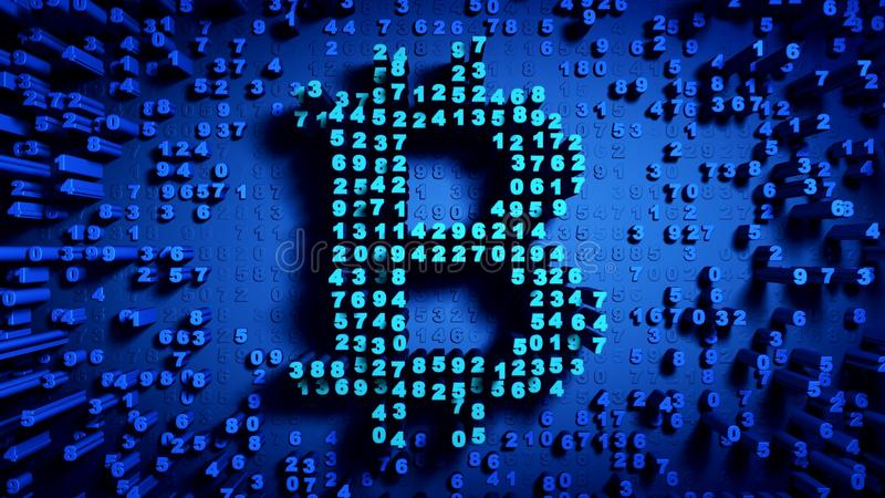 Abstract numbers Random motion in the form of coins bitcoin vector illustration