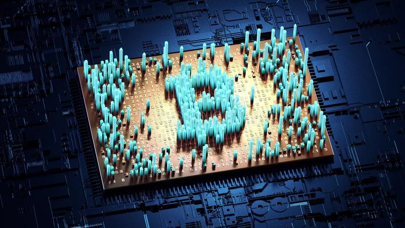 Abstract numbers Random motion in the form of coins bitcoin stock images
