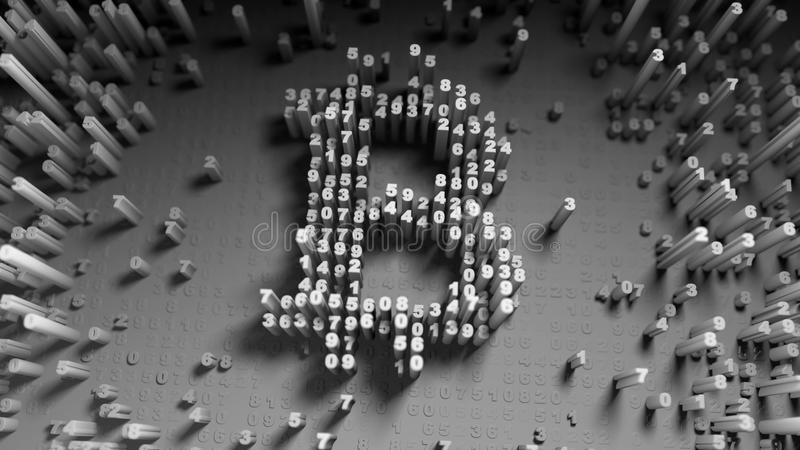 Abstract numbers Random motion in the form of coins bitcoin royalty free illustration