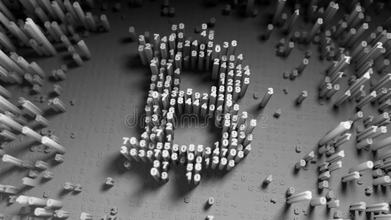 Abstract numbers Random motion in the form of coins bitcoin stock illustration