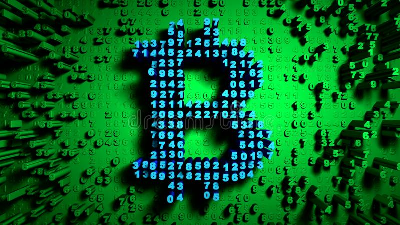 Abstract numbers Random motion in the form of coins bitcoin, Green color royalty free illustration