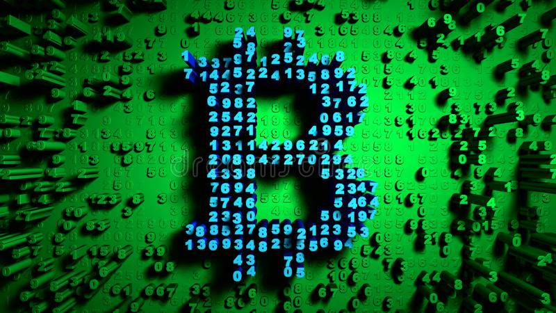 Abstract numbers Random motion in the form of coins bitcoin, Green color stock photography