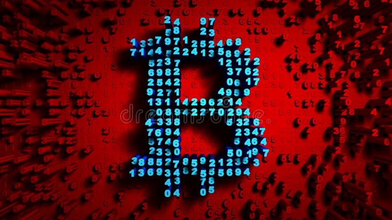 Abstract numbers Random motion in the form of coins bitcoin, Red color stock photography