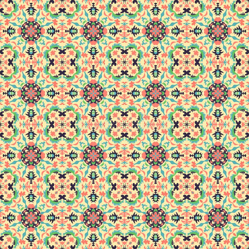 Abstract objects on a light background in retro style seamless pattern illustration stock illustration