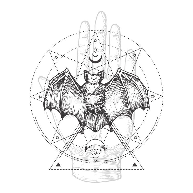 Free Abstract Occult Symbol, Vintage Style Logo Or Tattoo Template. Hand Drawn Black Bat And Palm Hand Sketch Symbol And Stock Photo - 166302560