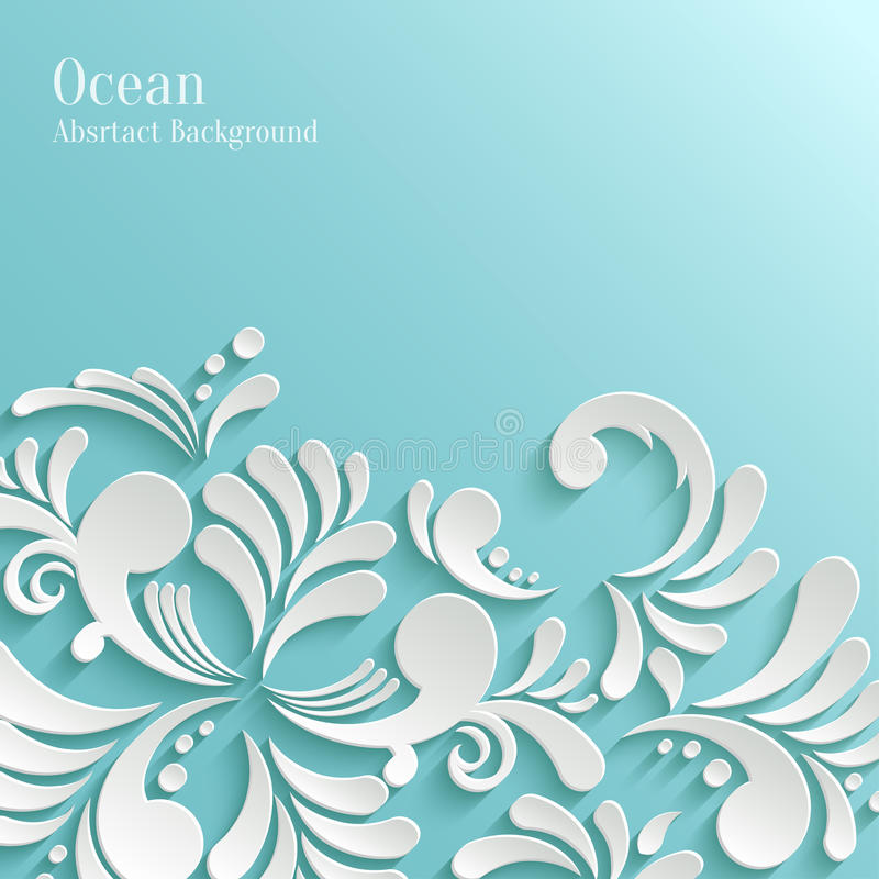 Abstract Ocean Background with 3d Floral Pattern royalty free illustration