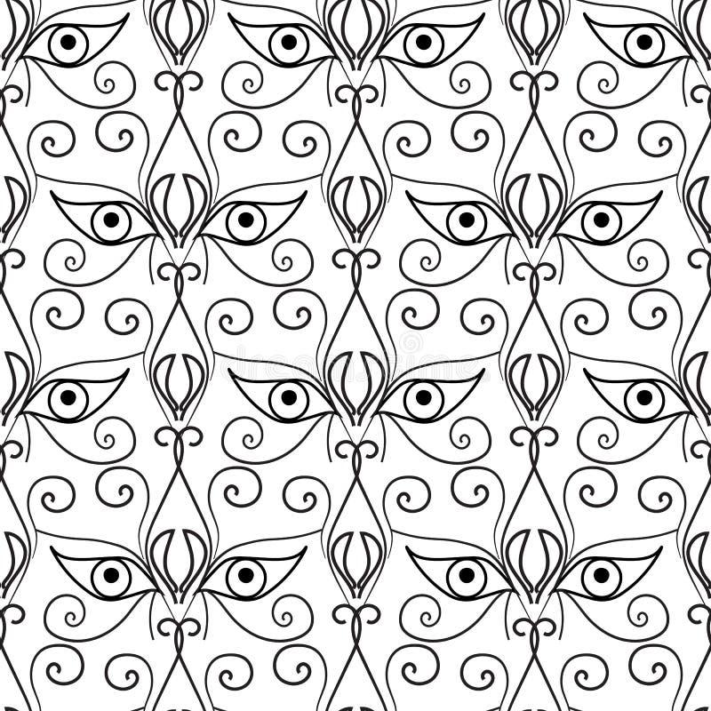 Abstract ogen naadloos patroon Sier etnische achtergrond Stammen decoratief herhaalt achtergrond Zwart-witte getrokken hand royalty-vrije illustratie