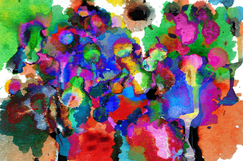 Abstract Oil Colors. Abstract closeup photograph of colorful ink, paint, and oil mixed together to create art stock image