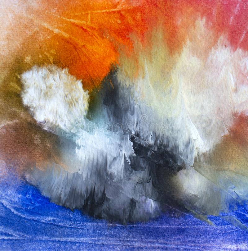 Abstract oil modern contemporary art island in the clouds stock image