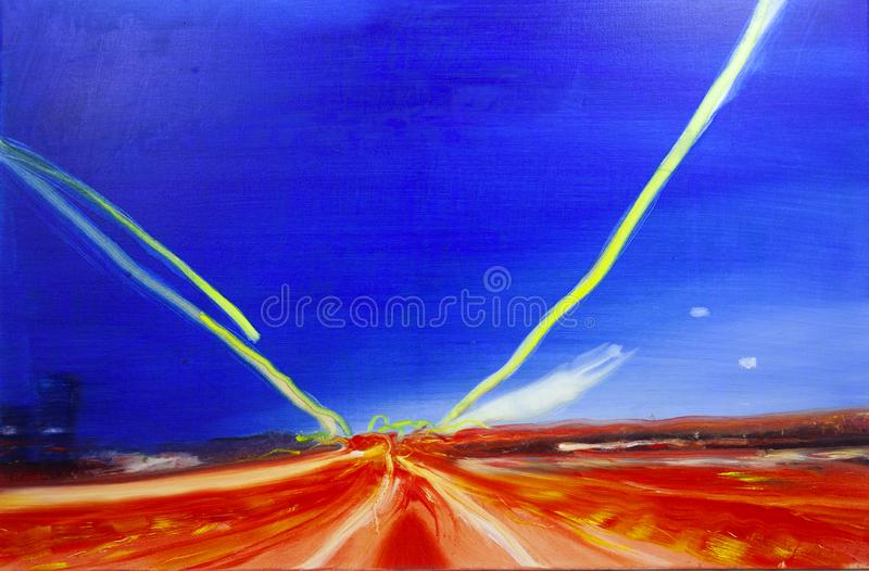 Abstract oil modern contemporary painting highway motion stock photography