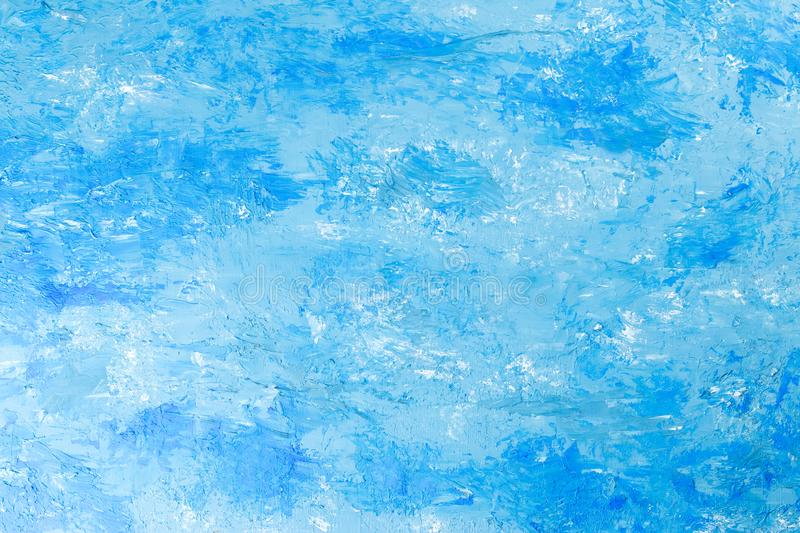 Abstract oil paint texture on canvas blue background royalty free stock photo