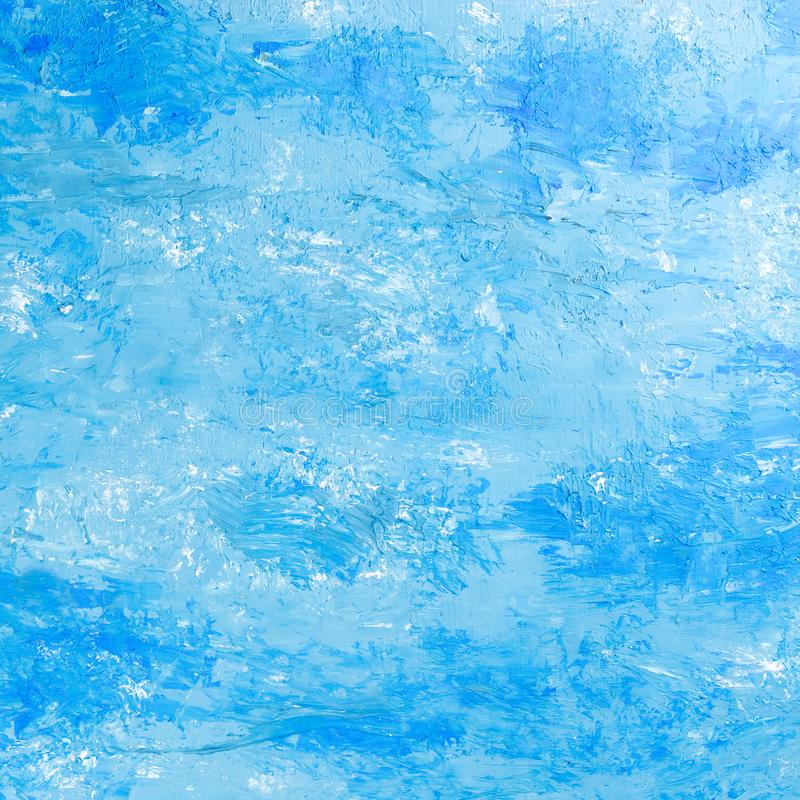 Abstract oil paint texture on canvas blue background vector illustration
