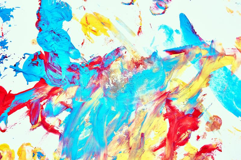Abstract oil paint texture on white canvas, colorful abstract background stock photos