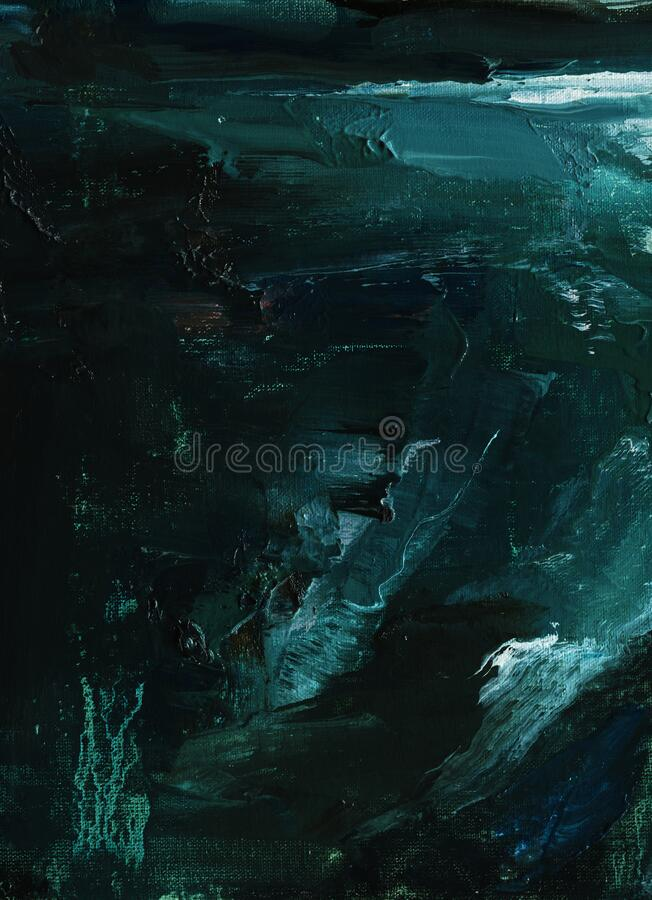 Free Abstract Oil Painting. Abyss, Ocean Waves, Seascape Hand Drawn Oil Illustration Royalty Free Stock Photo - 168943435