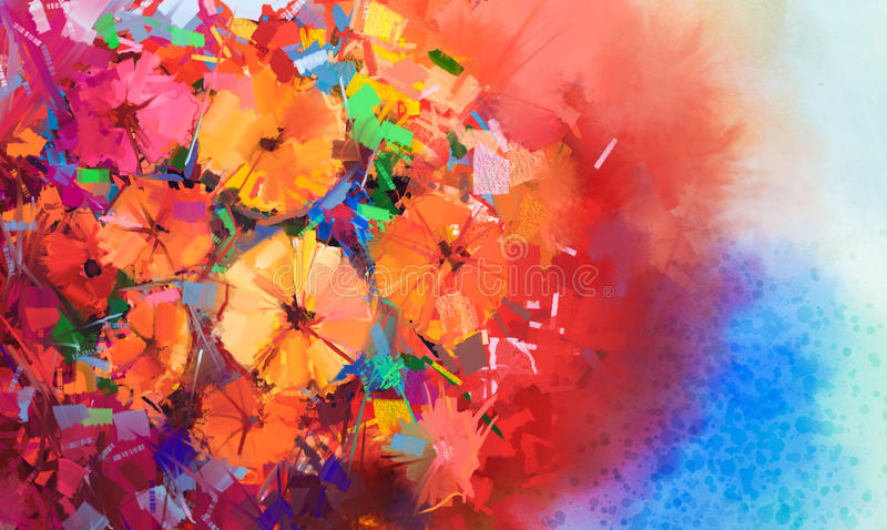 Abstract Oil painting a bouquet of gerbera flowers stock image