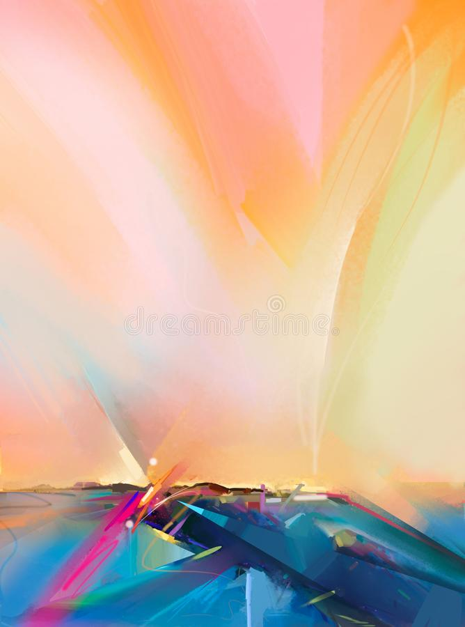 Abstract oil painting landscape background. Colorful yellow and orange sky. royalty free illustration