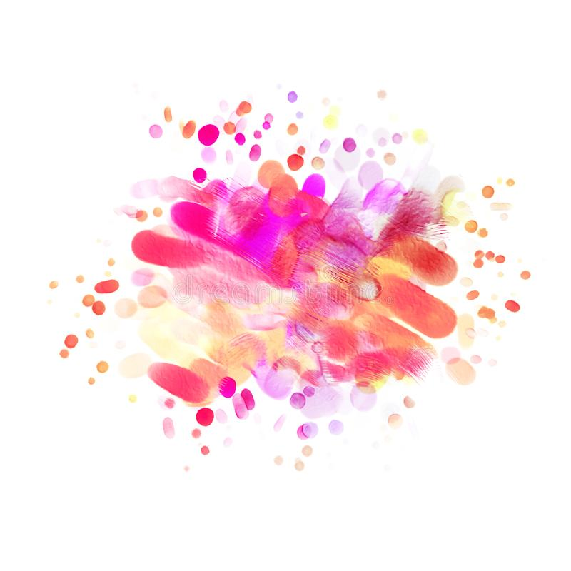 Abstract oil painting. Pink Blot. Blurred spot. Blob. Freehand drawing stock illustration