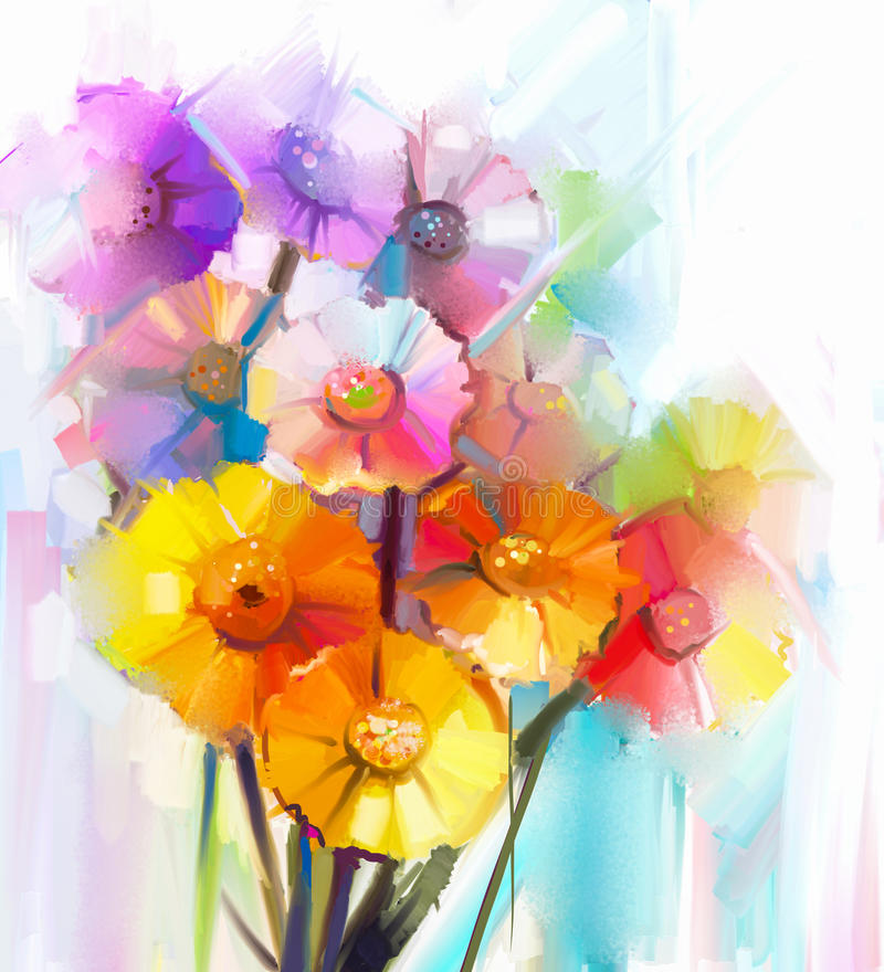 Abstract oil painting of spring flower. Still life of yellow, pink and red gerbera. vector illustration