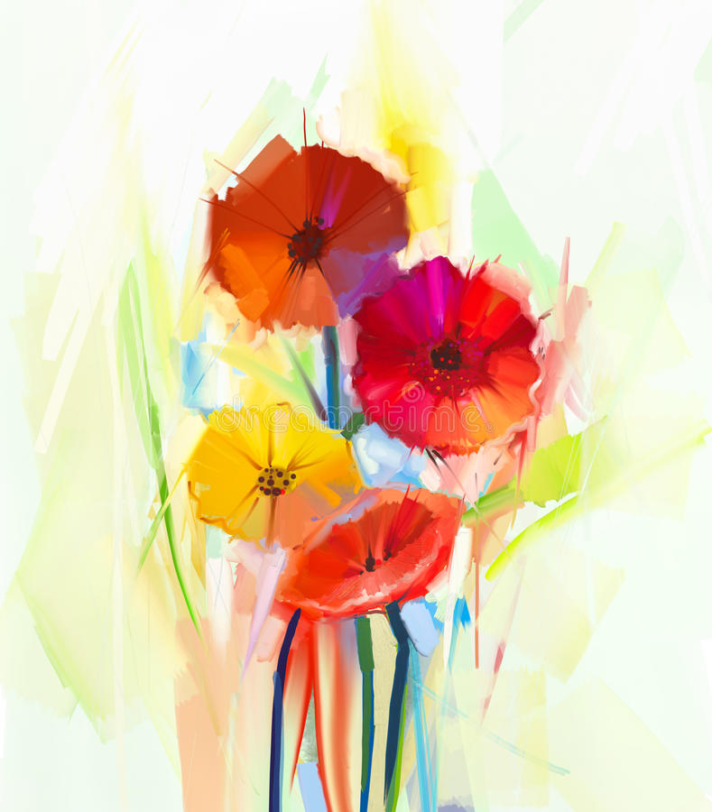 Abstract oil painting of spring flowers. Still life of yellow and red gerbera flowers stock illustration